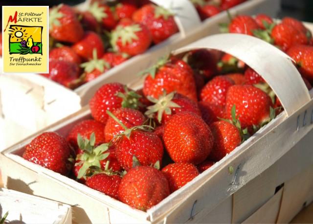 Erdbeeren mit Marktlogo